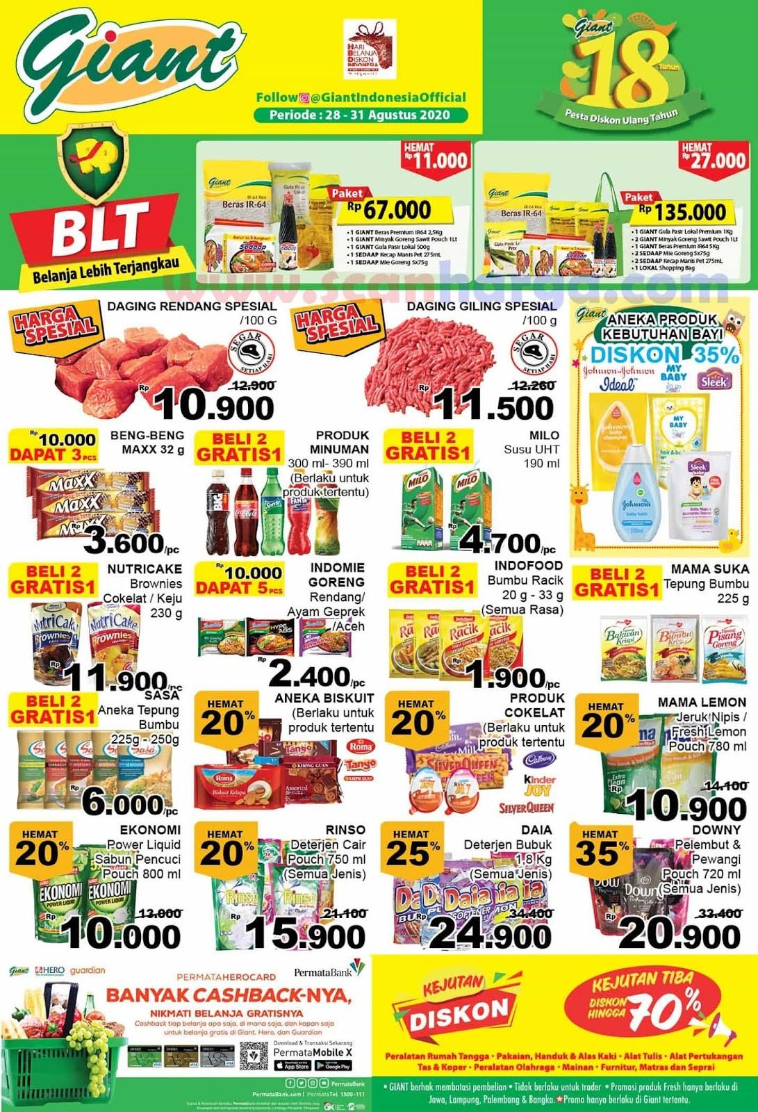 Katalog Promo BLT Giant - Belanja Lebih Terjangkau Periode 28 - 31 Agustus 2020