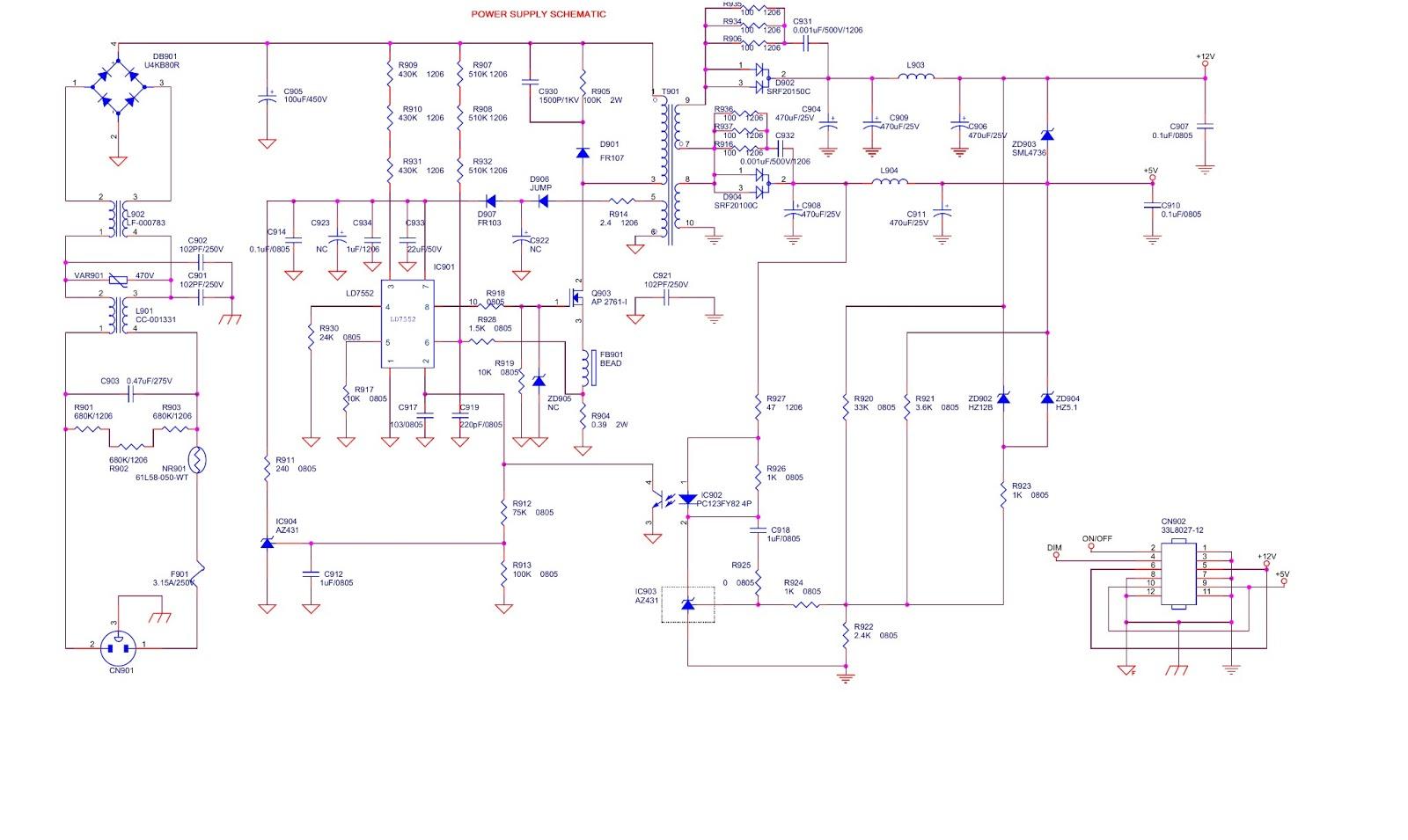 HP VS19E AOC  19 INCH LCD MONITOR  POWER SUPPLY  SCHEMATIC DIAGRAM | Electro help