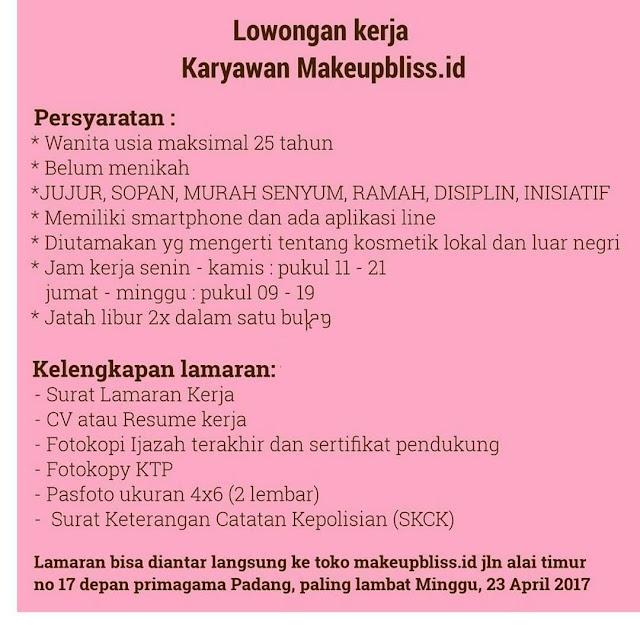 Lowongan Kerja Padang: Toko Makeupbliss April 2017