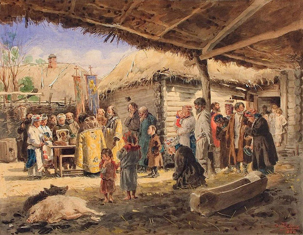 Маковский Владимир Егорович - Молебен на крестьянском дворе в Малороссии. 1886