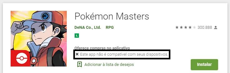 Pokémon Masters Compatibilidade