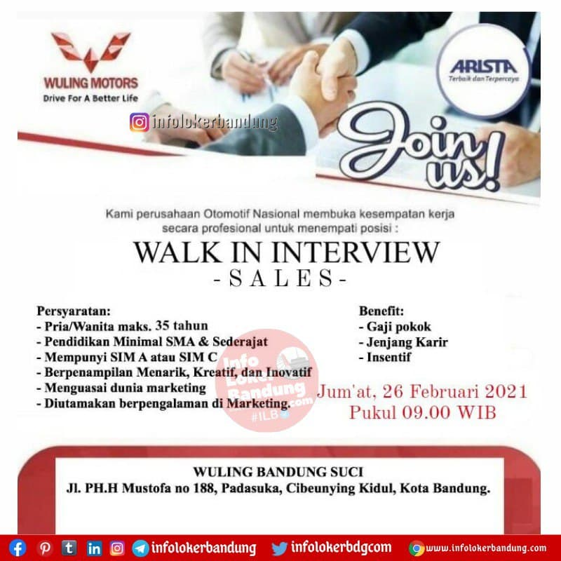 Walk In Interview Wuling Suci Bandung 26 Februari 2021