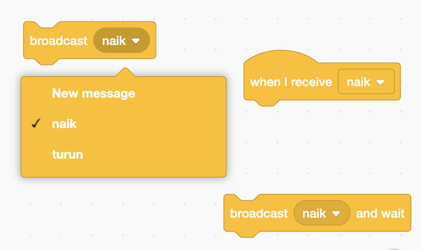 Menggunakan Broadcast Message di Coding Scratch 3.0