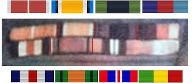 Auto-colorized close-up of Stephens' ribbon bar with matching medal ribbons and possible final ribbon, Star of Ethiopia.