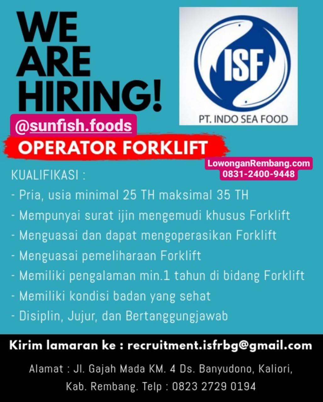 Lowongan Kerja Operator Forklift PT Indo Sea Food Desa Banyudono Kecamatan Kaliori Kabupaten Rembang