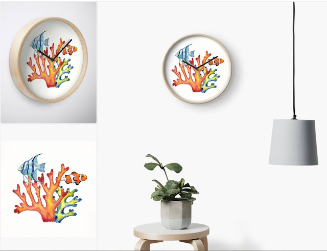 fish and corals watercolor on wall clock