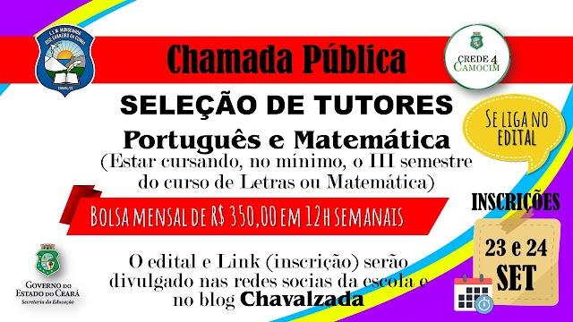 Escola Monsenhor Carneiro seleciona  Tutores em Língua Portuguesa e Matemática.