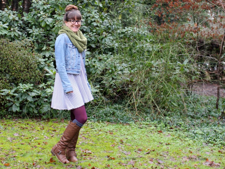 Stripes, boots and a circle scarf