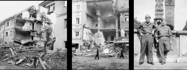 Leistnerstrasse after the bombing with American soldiers after the war
