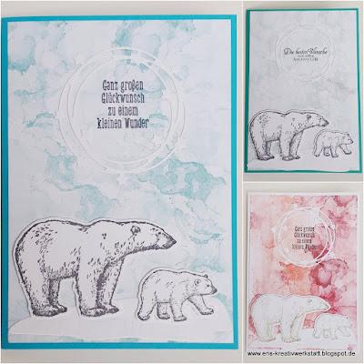 Babykarte mit Eisbären und Sternenkranz Stampin' Up! www.eris-kreativwerkstatt.blogspot.de