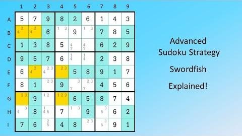 Best Strategy to Solve Sudoku Puzzles - Swordfish Strategy - Vribpa