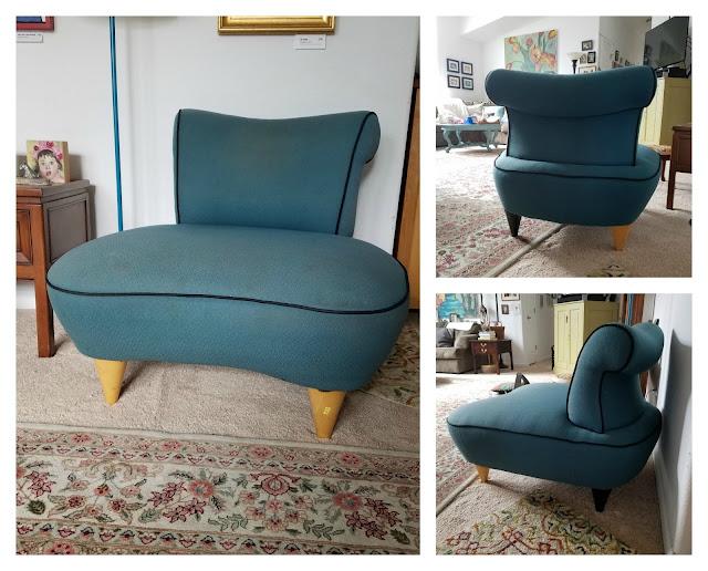 thrift store chair, perculiar shape, overstuffed, fat wood tapered legs