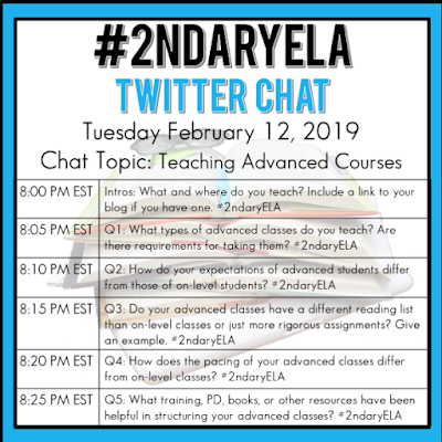 Join secondary English Language Arts teachers Tuesday evenings at 8 pm EST on Twitter. This week's chat will be about teaching advanced courses like AP and Gifted.