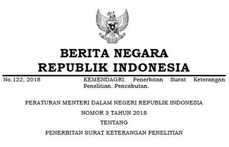 Permendagri Nomor 3 Tahun 2018 Tentang Penerbitan Surat Keterangan Penelitian