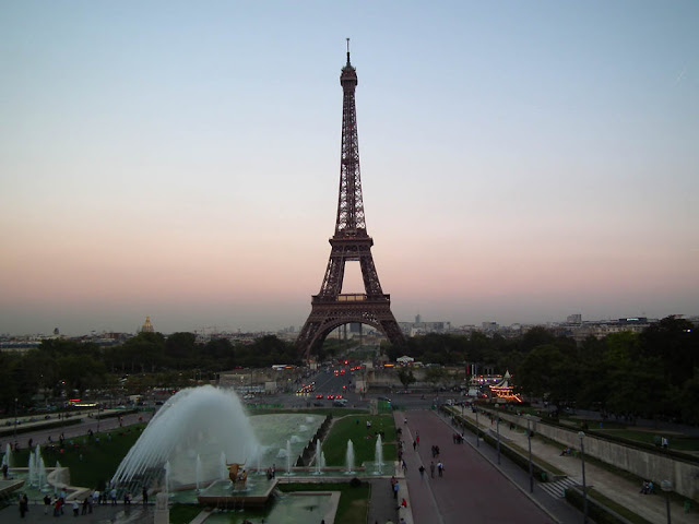 Eiffel Tower at dusk from Trocadero, Paris, France. Photo by Loire Valley Time Travel.