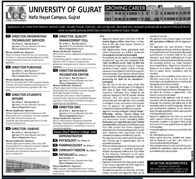 University of Gujrat UOG Hafiz Hayat Campus Jobs 2021 Advertisement