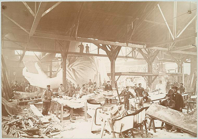 [Men in a workshop hammering sheets of copper for the construction of the Statue of Liberty.]. Fernique, Albert -- Photographer. 1883. Source: Album de la construction de la Statue de la Liberte. Repository: The New York Public Library. Photography Collection, Miriam and Ira D. Wallach Division of Art, Prints and Photographs.