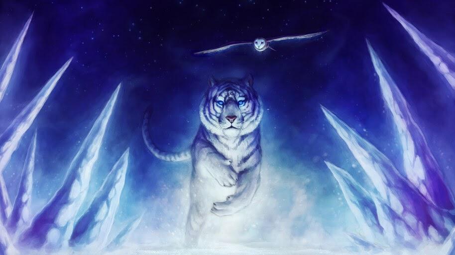 Tiger, Owl, Animals, Digital Art, 4K, #4.560