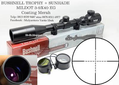jual scope bushnell trophy sunhade 3-9x40 eg reticle mildot