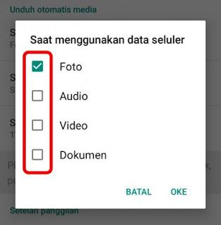 Setelan saat menggunakan data selular whatsapp
