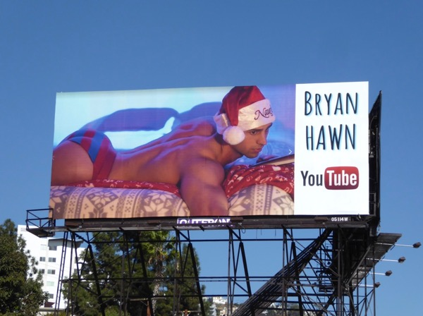 Bryan Hawn Santa hat YouTube billboard