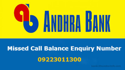 Andhra Bank Balance Check by Missed call