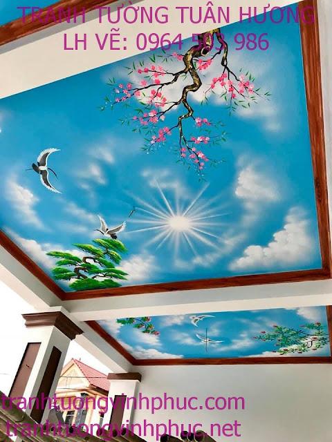 vẽ trần mây 3d và tranh tường tại ngã 4 me tam dương
