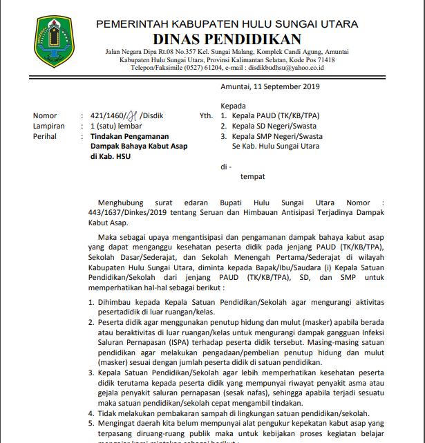 Smp Muhammadiyah Sungai Pandan Surat Edaran Dinas