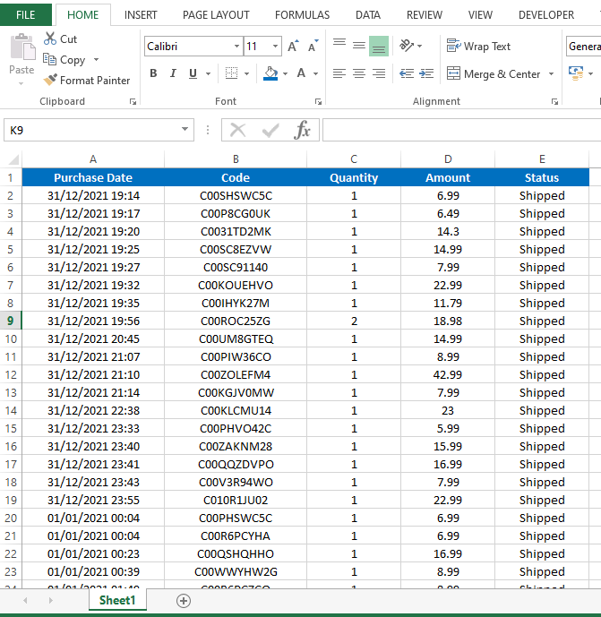 Sample excel sheet with data