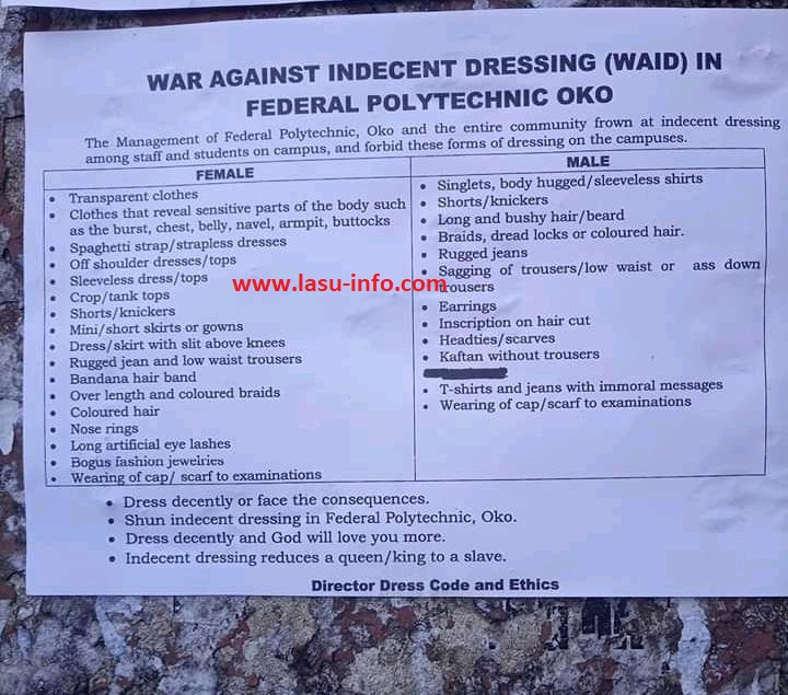 OKO POLY Dress Code [War Against Indecent Dressing] in Campuses