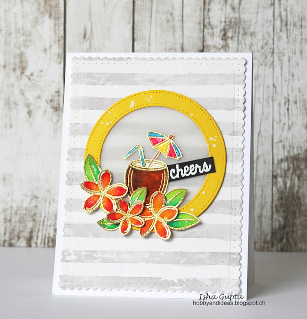 Sunny Studio Stamps: Tropical Paradise Fruity Drink Summer Card by Isha Gupta.