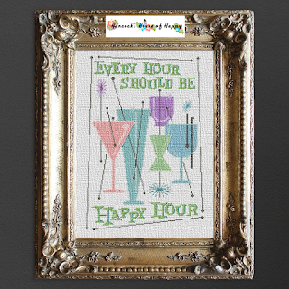 happy hour cross stitch pattern, cocktail cross stitch pattern, mid-century modern cross stitch pattern