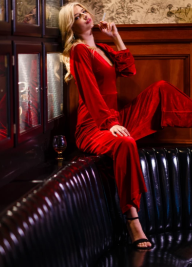 red jumpsuit with sleeves