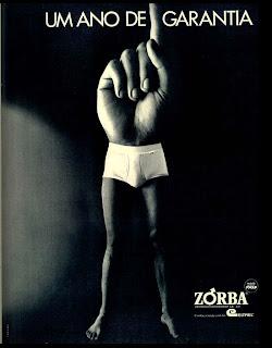 propaganda cueca Zorba de 1973.  moda anos 70; propaganda anos 70; história da década de 70; reclames anos 70; brazil in the 70s; Oswaldo Hernandez