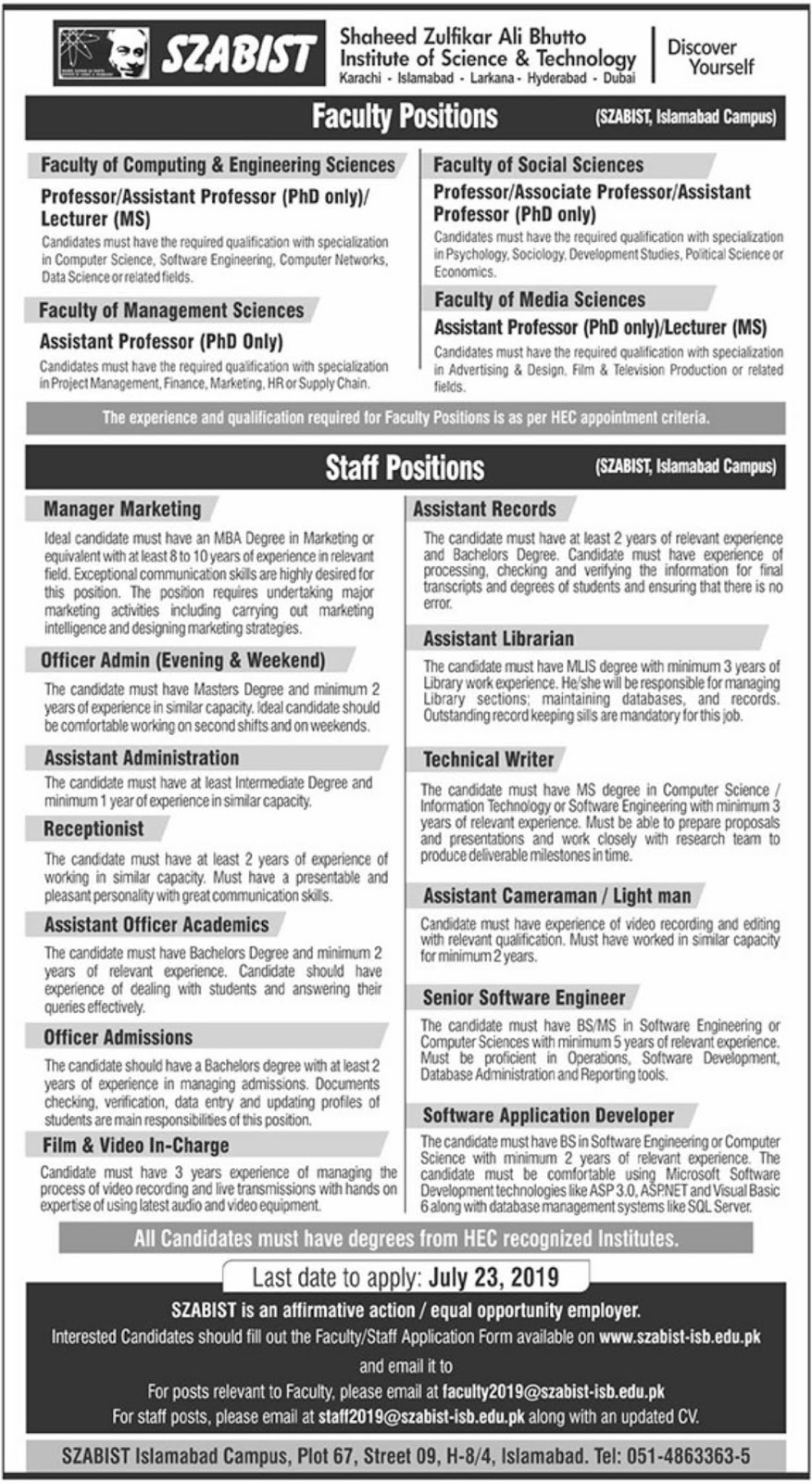 Shaheed Zulfikar Ali Bhutto Institute of Science & Technology SZABIST Jobs 2019