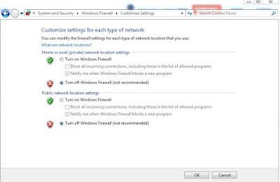 Mematikan windows firewall