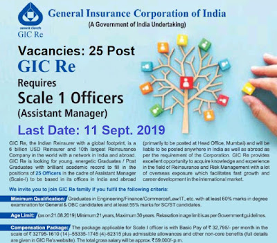 GIC Recruitment for 25 Assistant Manager 2019