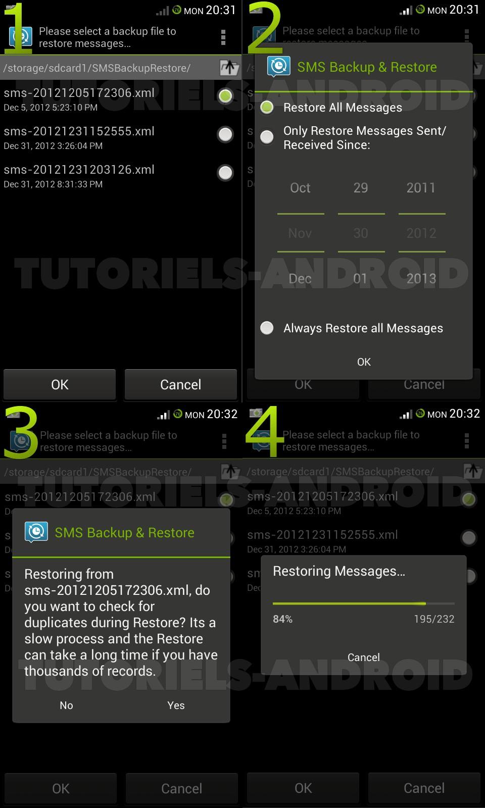 Restaurer les SMS sur Android