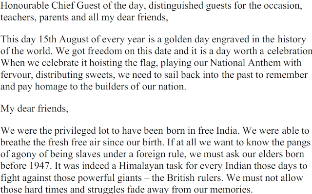 15 August Independence Day Speech for Students, Childrens, Teachers & Kids