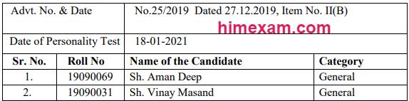 HPPSC Shimla Homeopathic Medical Officers Result 2021