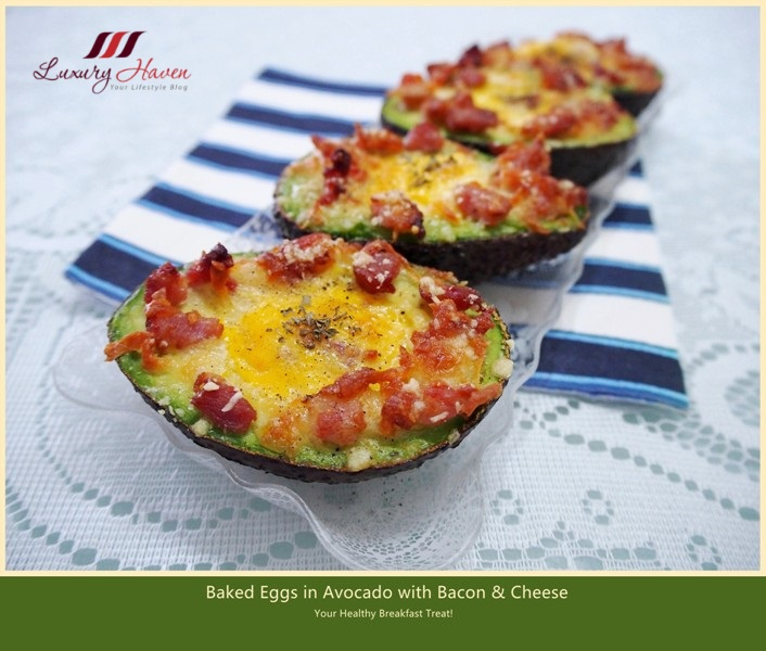 baked eggs in avocado with cheesy bacon recipes