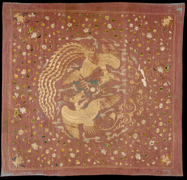 14th century Chinese embroidered panel with phoenixes and flowers