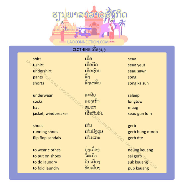 Learn Lao and English:  Clothing related words