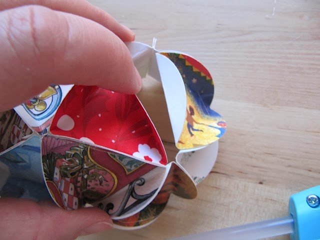 recycled folded Christmas card ornament