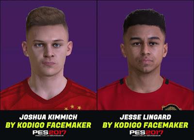 PES 2017 Faces Jesse Lingard & Joshua Kimmich by Kodigo