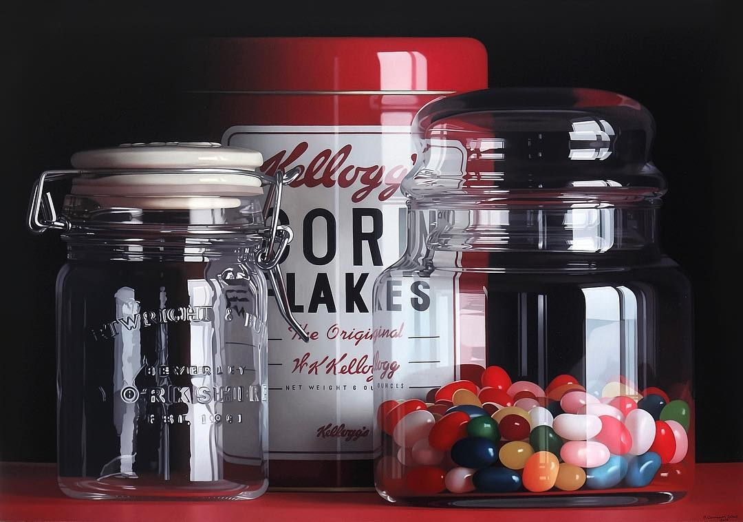 08-Kelloggs-Corn-Flakes-and-Jelly-Beans-Pedro-Campos-Realistic-Paintings-Coupled-with-Classic-Items-www-designstack-co