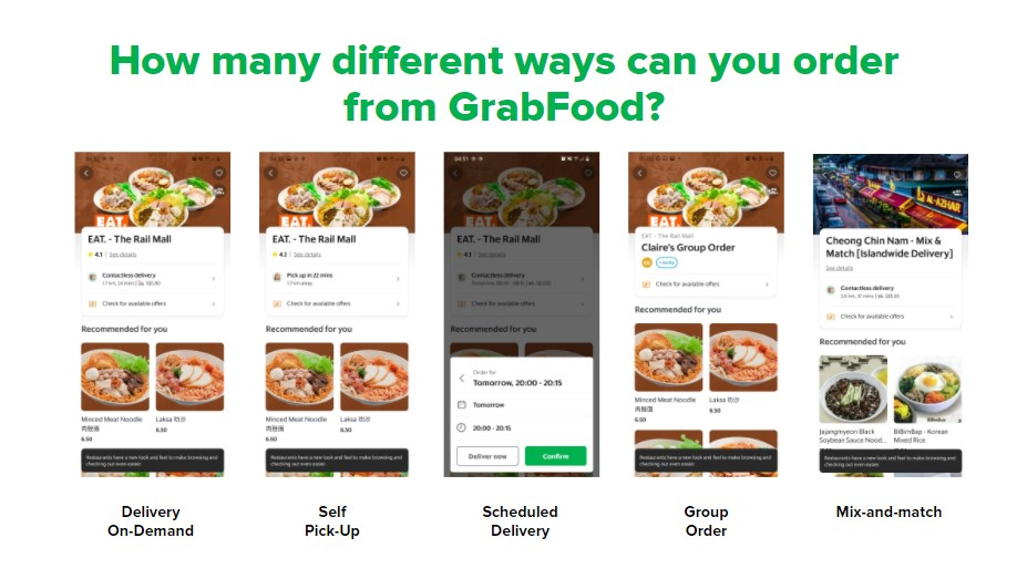 GrabFood Ordering System: How many different ways you can order from GrabFood?