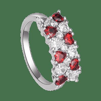 Nhẫn bạc đính đá màu đỏ PNJSilver Fantasia XMZTK000012