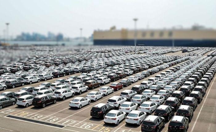 سيارات مستوردة مركونة في الميناء