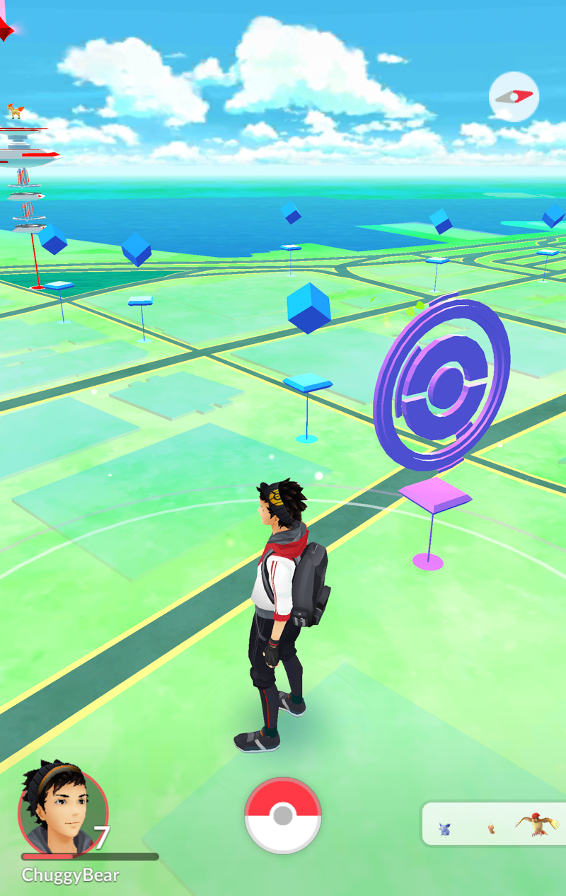 these will be located at select places near you such as historical markers monuments and art installations pokestops are indicated on your map with blue